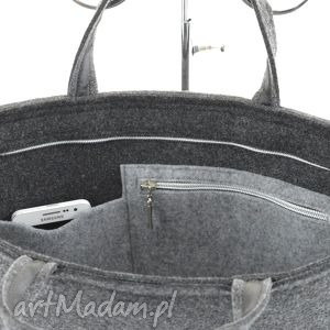 awangardowe na laptopa filcowa duża grafitowa torebka - laptopówka
