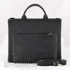 ręcznie wykonane laptop duża grafitowa torebka - torba