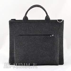 czarne laptop duża grafitowa torebka - torba