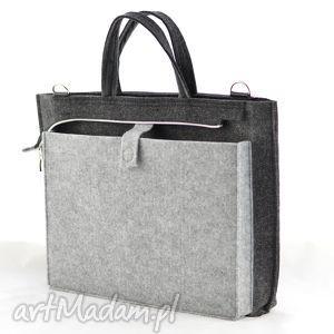 szary duża szara filcowa torebka - torba