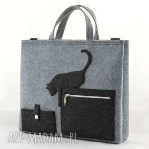 szare laptop duża szara filcowa torebka - torba