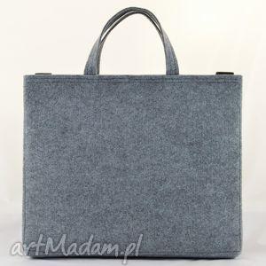 szary na laptopa duża szara filcowa torebka - torba