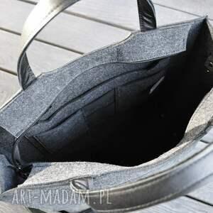 czarne duża torba filcowa - do biura