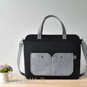 handmade laptop elegancka czarna filcowa torebka