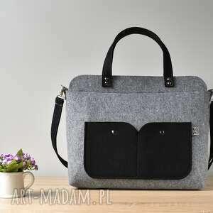 oryginalne laptop elegancka szara filcowa torebka
