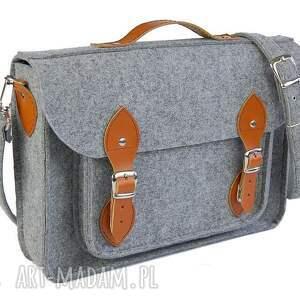 brązowe torba filcowa na laptopa