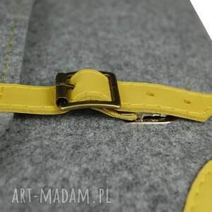 żółte laptop filcowa torba na laptopa - szyta
