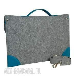 turkusowe filcowa torba na laptopa - szyta