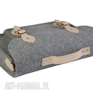 beżowe na laptopa torba filcowa - personalizowana