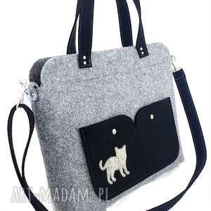 ręcznie wykonane torebka gray laptop bag with cat