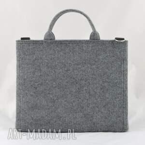 ręcznie zrobione torba na laptopa - szara minimalizm