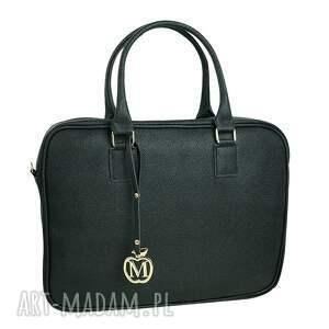 czarne na laptopa torebka manzana biznes styl - torba