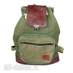 wygodny plecak harcerski brezent skóra