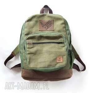 zielone plecak klasyczny brezent skóra