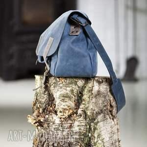 niebieskie torba skórzana teczka listonoszka torebka