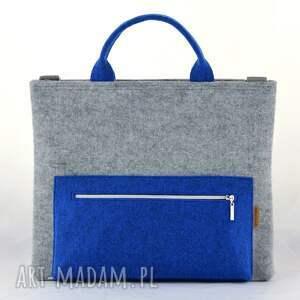 Torba na laptopa w kolorze szarym i niebieskim, filcowa laptopówka, do ręki filc