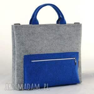 turkusowe filcowa torba na laptopa w kolorze szarym
