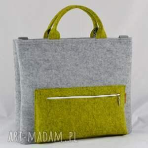 żółte filcowa torba na laptopa z filcu w kolorze