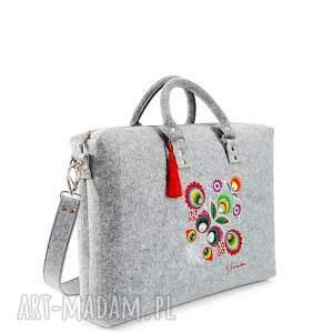 wyraziste laptop torba filcowa kwiat łowicki