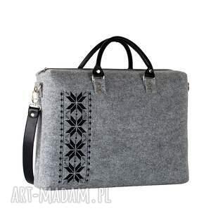 gustowne na laptopa filcowa torba romby czarne