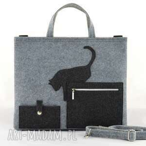 handmade kot torba na laptopa - szara z kotkiem