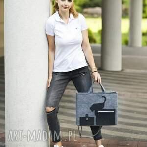 szare laptop torba na laptopa - szara z kotkiem