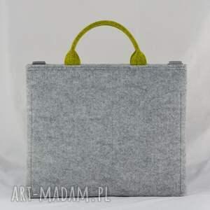 handmade limonka torba na laptopa z filcu w kolorze