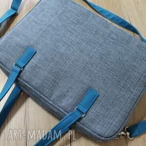 niebieskie elegancka torba na laptop - ciemna niebieska
