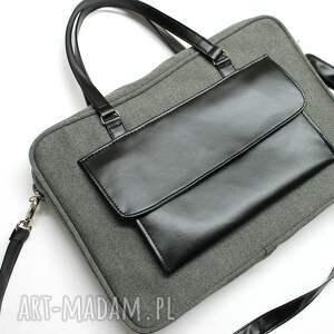 handmade laptop torba na - tkanina szara