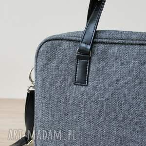 ręcznie robione prezent torba na laptop - tkanina antracyt