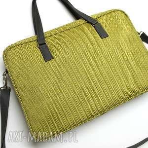 żółte laptop torba na - tkanina w jodełkę