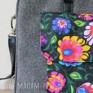 ręcznie wykonane elegancka torba na laptop - tkanina szara