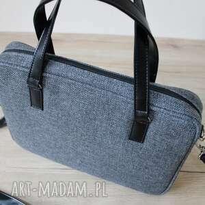 ręcznie robione elegancka torba na laptop - tkanina antracyt