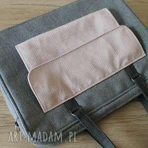 prezent święta elegancka torba na laptop - szary i pudrowy