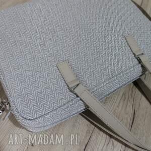 pomysł na prezenty święta elegancka torba na laptop - jodełka beż