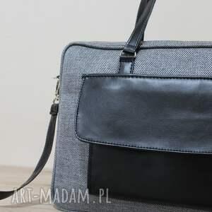 pomysły na prezenty na święta elegancka torba na laptop - tkanina grafit