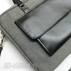 elegancka torba na laptop - tkanina szara