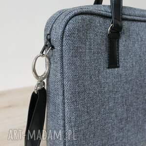 szare elegancka torba na laptop - tkanina antracyt