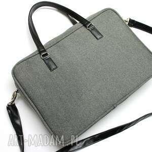 pomysły na prezenty pod choinkę elegancka torba na laptop - tkanina szara