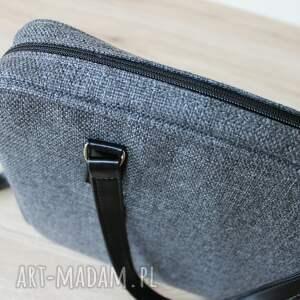 prezent torba na laptop - tkanina antracyt