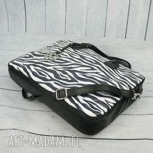 aktówka czarne torba na laptopa zebra manzana