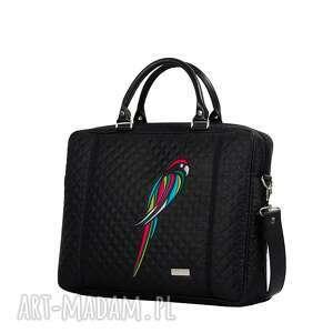 efektowne pikowana torebka na laptopa papuga 451