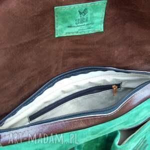 brązowe na laptopa skóra wielka teka zielona pull up