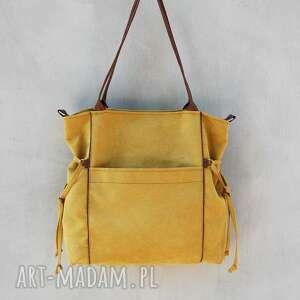 żółte na ramię duża amber - torba - shopper