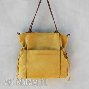 żółte na ramię duża amber - torba shopper