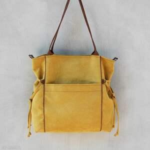 brązowe na ramię pojemna amber - duża torba shopper