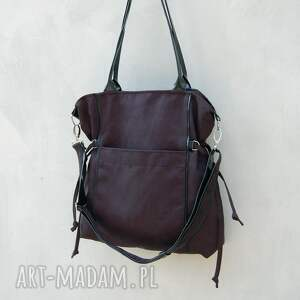 na ramię: Amber - duża torba - shopper - czarna - modna prezent