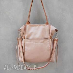 hand-made na ramię prezent amber - duża torba shopper ecru