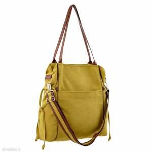 duża na ramię żółte amber - torba shopper