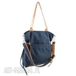 na ramię: Amber - duża torba - shopper - granatowa plecionka trendy